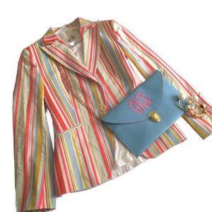 Handbags - Blue & Pink Monogram Envelope Clutch Shoulder Bag